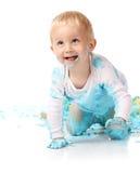 Baby smashing cake royalty free stock photos