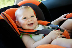 Baby smile in car Royalty Free Stock Images