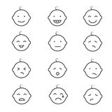 Baby smile face emoticons vector icons Royalty Free Stock Photos
