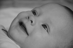 Baby smiles b&w Stock Photos