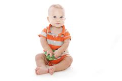 Baby Snack. Baby boy, toddler with a snack isolated over white Royalty Free Stock Image