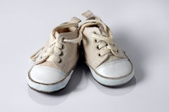 Baby Sneakers Over White Background Royalty Free Stock Photo