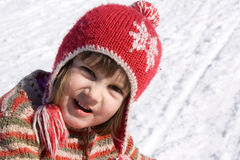 Baby on snow Royalty Free Stock Images