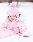 Baby on the snow Royalty Free Stock Photo