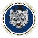 Baby snow leopard in a circle stock illustration