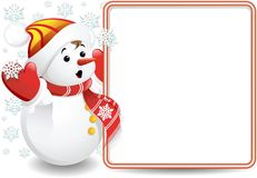 Baby Snowman Background. A Baby Snowman with a Panel Royalty Free Stock Photography