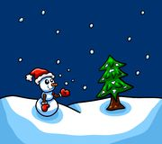 Baby Snowman Watching The Snow Fall stock illustration