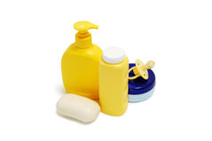 Baby soap, talcum powder, cream and other bathroom accessories. Baby bathroom accessories isolated on white Stock Photos