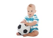 Baby with Soccer Ball Stock Photos