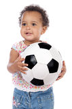 Baby with soccer ball Royalty Free Stock Photography