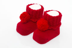 Baby socks. Isolated red socks for baby stock images