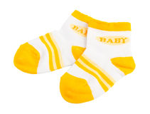 Baby socks on the background Royalty Free Stock Photos