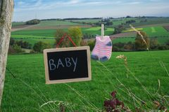 Baby socks and chalkboard on barbed wire against green landscape royalty free stock images