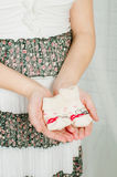 Baby socks in  hands of pregnant woman Royalty Free Stock Photo