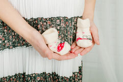 Baby socks in  hands of pregnant woman Stock Image