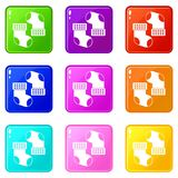 Baby socks icons 9 set Royalty Free Stock Images