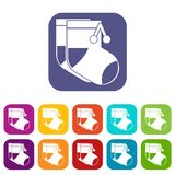 Baby socks icons set Royalty Free Stock Photography