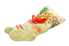 Baby socks with pacifier Stock Photography