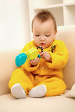 Baby on sofa Stock Photography