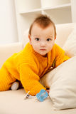Baby on sofa Stock Photo