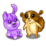 Baby soft toys purple hare and brown beaver Royalty Free Stock Photography