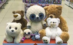 Baby soft toys in the shop window. Royalty Free Stock Photo