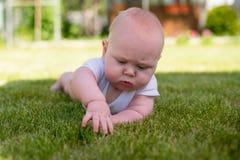 Baby som ligger i trädgården och som är berörd gräset Royaltyfri Foto