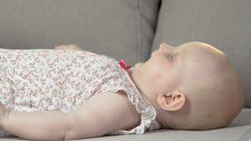 Baby som ligger på baksida på soffan som sparkar armar och ben, driftigt barn, spädbarnsålder stock video