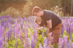Baby son with dad in lupine field Royalty Free Stock Photos