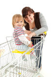 Baby son in trolley with mother taking shopping Royalty Free Stock Photography