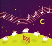 baby song lullaby before bedtime. Lambs jump over the fence. music in the starry sky vector illustration