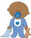 Baby Soother Boy. A baby boy with a soother,blanket and teddy bear Royalty Free Stock Photography