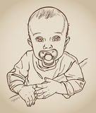 Baby with a soother drawing Royalty Free Stock Photos