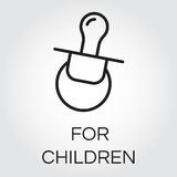 Baby soother icon. Contour graphics of nipple for little children. Icon of baby soother. Contour graphics of nipple for little children. Icon of baby soother Stock Photos
