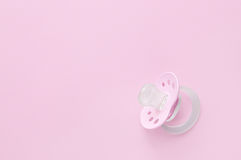 Baby soother in pink. Girl Baby soother in pink stock photos