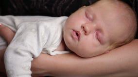 Baby sover på moderns händer stock video