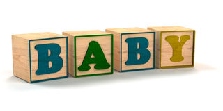 Baby Spelled out In Child Color Blocks. Angled with White Background and soft shadows stock illustration