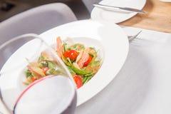 Salad: sausage, cheese, vegetable, vinaigrette Stock Image