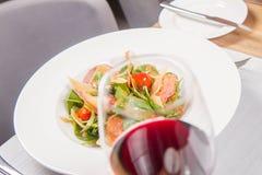 Salad: sausage, cheese, vegetable, vinaigrette Royalty Free Stock Image