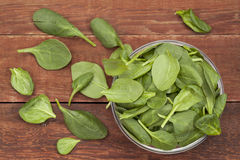 Bowl of baby spinach Stock Photo