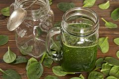 Baby spinach smoothy stock photos