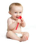 Baby with spoon Stock Photos