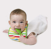 Baby with spoon in mouth looking at camera.  Stock Photography