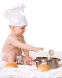 Baby, spoon, pot and bread isolated. On white background Royalty Free Stock Images