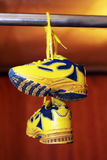 Baby sport shoes pair, yellow color. On white background Stock Images