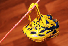 Baby sport shoes pair, yellow color. Baby sport shoes pair, yelow color Stock Photos