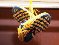 Baby sport shoes pair, yellow color. Baby sport shoes pair, yelow color Stock Image