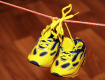 Baby sport shoes pair, yellow color. Baby sport shoes pair, yelow color Stock Images