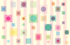 Baby Square circles. Pink & Yellow striped pattern with floating multi-colored squares with round centers Royalty Free Stock Image