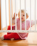 Baby and  stair gate Royalty Free Stock Photos